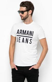 Белая футболка с принтом Armani Jeans