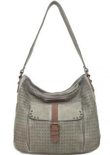 Серая кожаная сумка с металлическим декором Taschendieb