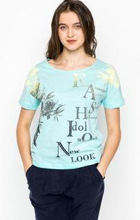 Хлопковая футболка с принтом и пайетками Lerros