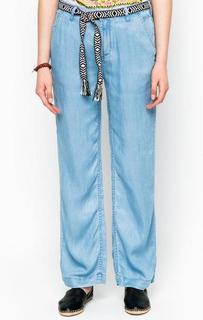 Прямые синие брюки с поясом Maison Scotch