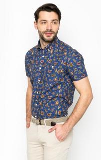 Синяя рубашка с принтом Barbour