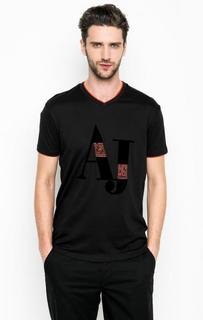 Черная футболка с логотипом бренда Armani Jeans