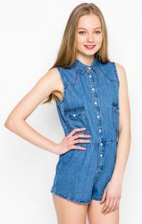 Синий комбинезон с накладными карманами Glamorous