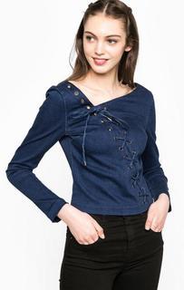 Синяя блуза со шнуровкой Miss Sixty