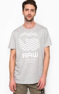 Серая футболка с логотипом бренда G Star RAW