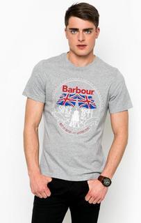 Серая футболка с принтом Barbour