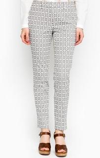 Зауженные брюки молочного и серого цветов из хлопка S.Oliver Premium