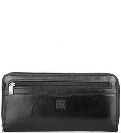 Черный кожаный кошелек на молнии Sergio Belotti