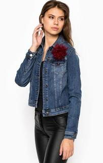 Джинсовая куртка с объемной брошью Liu Jo