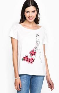 Хлопковая футболка с принтом и нашивками Liu Jo