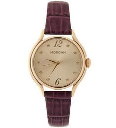 Часы с фиолетовым ремешком с текстурной обработкой под крокодила Morgan