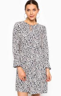 Короткое платье из вискозы с цветочным принтом Tom Tailor Denim
