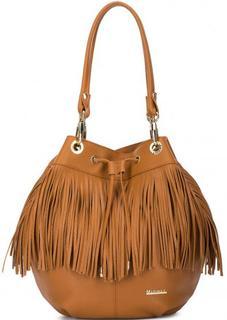 Кожаная сумка-мешок с бахромой Marina C.