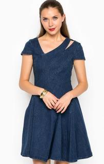 Короткое джинсовое платье с вырезом на плече Miss Sixty