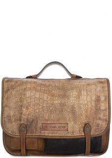 Кожаная сумка с выделкой под рептилию Taschendieb