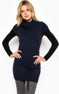 Синий удлиненный свитер с короткими рукавами Alcott