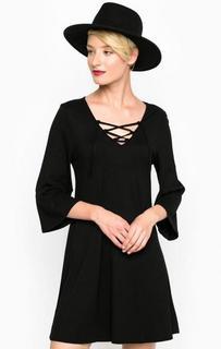 Черное платье с расклешенными рукавами Mavi