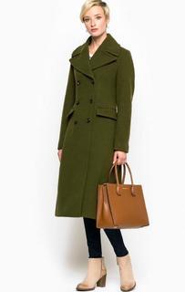 Двубортное пальто из шерсти и полиамида цвета хаки Marc Opolo