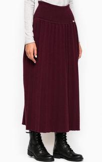 Длинная бордовая юбка MET