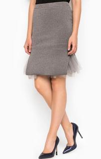 Серебристая юбка с разрезами Miss Sixty