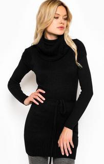 Черный удлиненный свитер с короткими рукавами Alcott