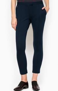 Синие укороченные брюки из вискозы Pois