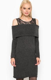 Серое платье с кружевной кокеткой Relish
