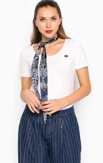Хлопковая футболка с лентой-галстуком Miss Sixty