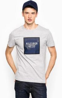 Серая хлопковая футболка с круглым вырезом Tommy Hilfiger