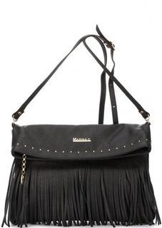 Черная кожаная сумка через плечо Marina C.