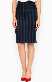 Джинсовая юбка-карандаш в полоску Miss Sixty