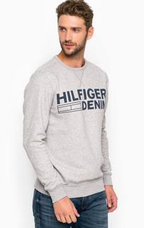 Серый свитшот с контрастным принтом Hilfiger Denim