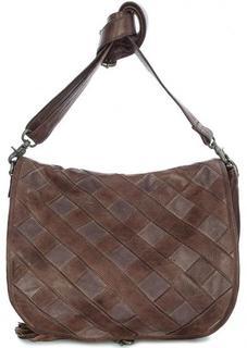 Кожаная сумка через плечо с вставками из замши Taschendieb
