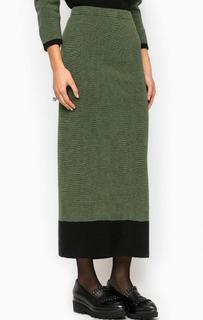Зеленая юбка с разрезом Think Chic