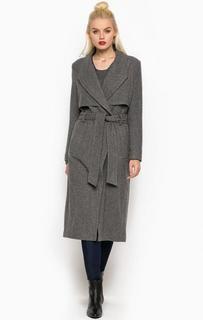 Серое пальто из шерсти и полиамида с поясом Drykorn