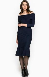 Темно-синее платье с открытыми плечами Miss Sixty