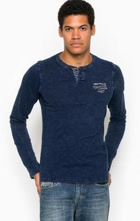 Синяя футболка с длинными рукавами на пуговицах Pepe Jeans