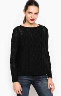 Черный вязаный хлопковый свитер D&S Ralph Lauren