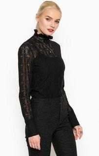 Черная хлопковая блуза на молнии Drykorn