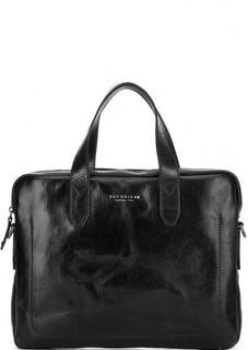 Черная кожаная сумка с одним отделом и съемным плечевым ремнем THE Bridge