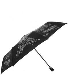 Складной черный зонт с контрастным принтом Doppler