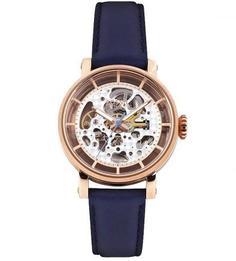 Механические часы с синим кожаным браслетом Fossil