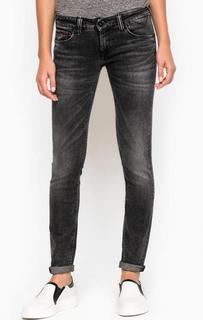 Серые джинсы скинни с заломами Hilfiger Denim