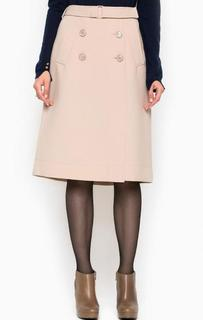 Бежевая юбка на пуговицах Patrizia Pepe