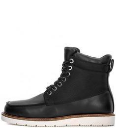 Кожаные ботинки с текстильными вставками Armani Jeans