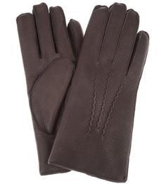Коричневые перчатки с меховой подкладкой Bartoc