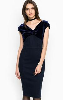 Облегающее платье из денима с бархатной вставкой Miss Sixty