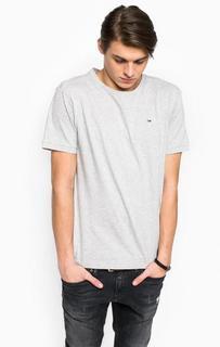 Серая хлопковая футболка Hilfiger Denim