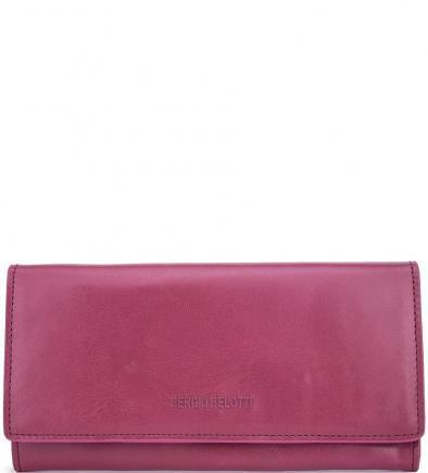 Кожаный кошелек цвета фуксии