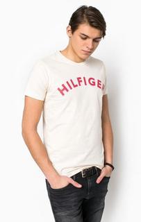 Бежевая хлопковая футболка с принтом Hilfiger Denim